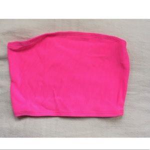 Hot pink ribbed bandeau